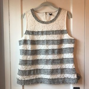 JCrew Sleeveless Tweed and Lace Fringe Top